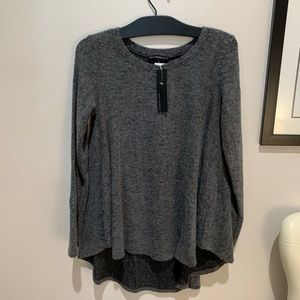 Nally and Millie Scoop Charcoal Long Sleeve Top